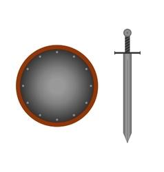 Set round shield sword silver 1505 vector image vector image