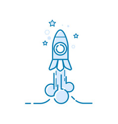 the rocket at the start takes off thin line vector image vector image