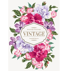 Vintage wedding invitation with colorful flowers vector
