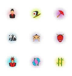 Attractions of Japan icons set pop-art style vector image