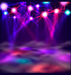 dance floor banner light and smoke on stage vector image