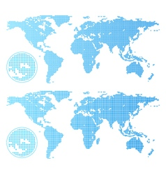 Dotted world map isolated on white vector image