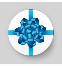 Gift Box with Shiny Blue Azure Bow and Ribbon vector image vector image
