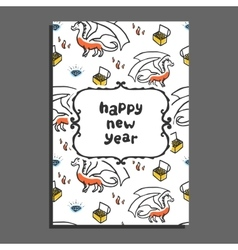 Happy new year greeting card with dragon and vector