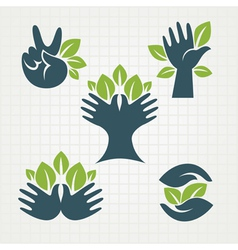 leaves and fingers vector image