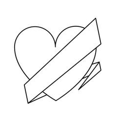 love heart wrap ribbon celebration romantic line vector image