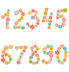 Numbers from zero to nine with colorful flowers vector