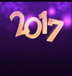 Purple background with golden 2017 text effect vector