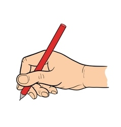 Simple line drawing of hand holding a pen vector image