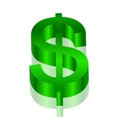 3d green dollar symbol vector image vector image