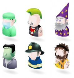 character icons vector image
