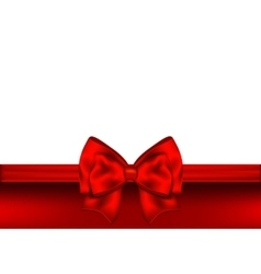 Holiday red background with gift bow and ribbon vector image