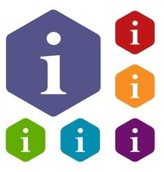 Info rhombus icons vector image