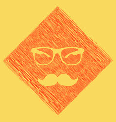 mustache and glasses sign red scribble vector image vector image