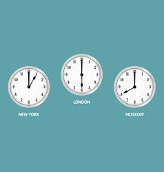 Wall clocks showing local times vector