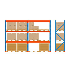 warehouse shelves with boxes storage equipment vector image