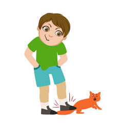 boy stepping on cats tail part of bad kids vector image