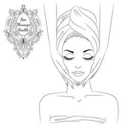 face massage line art vector image