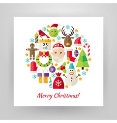 Flat Style Circle Set of Merry Christmas Objects vector image