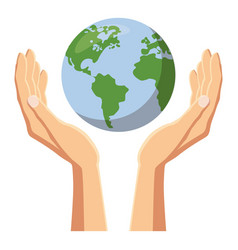 hands holding globe earth icon cartoon style vector image
