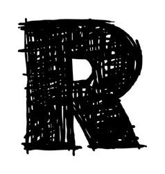 R - hand drawn character sketch font vector image vector image