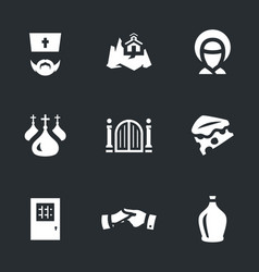 set of monastery icons vector image vector image
