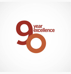 90 year anniversary excellence template design vector