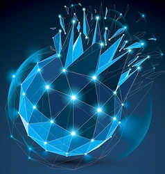 Abstract 3d faceted radiance blue figure with vector
