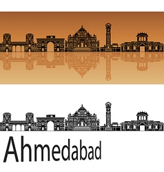 Ahmedabad skyline in orange vector