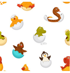 animals born from eggs eggshells and reptiles vector image