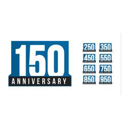 anniversary icons set birthday logo vector image