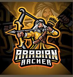 Arabian archer esport mascot logo design vector