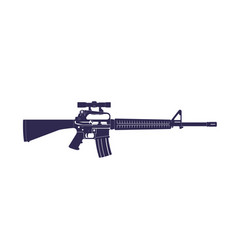 Assault rifle automatic gun with optical scope vector