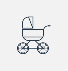 Baby carriage line icon vector