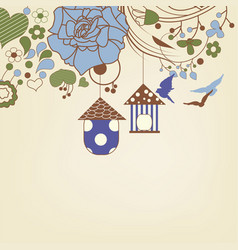 birds flying and bird cages in a floral garden vector image