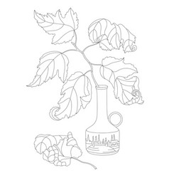 branch in a vase on white background vector image