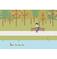 Businessman on a bench at lunchtime vector
