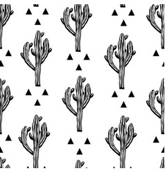 cactus seamless pattern with saguaro vector image