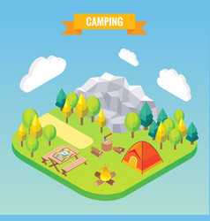 camping isometric concept in vector image
