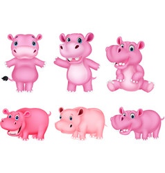 cartoon hippo collection set vector image