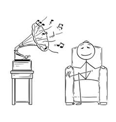 Cartoon man sitting in armchair and enjoying vector