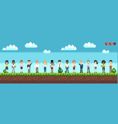 character selection for playing pixel game vector image