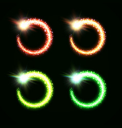 christmas colorful magic round comets collection vector image