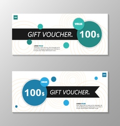 Circle blue green gift voucher template layout set vector