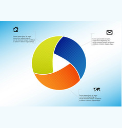 Circle divided to three parts filled color vector