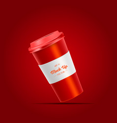 Coffee cup with holder mockup on red background vector