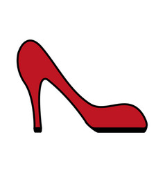 Color image cartoon red high heels shoes vector