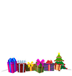 colourful gift boxes on white snow christmas or vector image