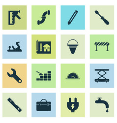 construction icons set with construction hoist vector image