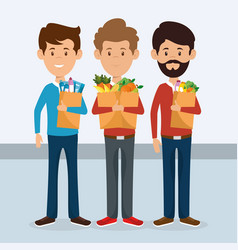 Consumers with supermarket bag of groceries vector